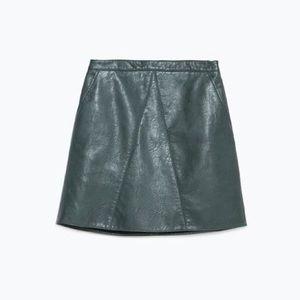 NWOT Zara Green Faux Leather Skirt